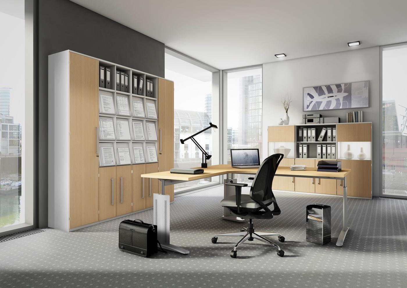 Büromöbel für einen organisierten Arbeitsplatz, moderne ...